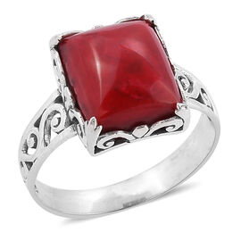 Royal Bali Collection Sponge Coral (Cush) Solitaire Ring in Sterling Silver 6.000 Ct.