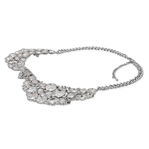Simulated Diamond and White Austrian Crystal Necklace (Size 20) and Earrings in Silver Tone