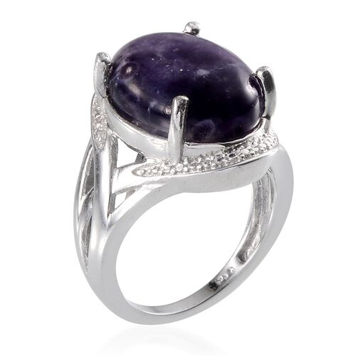 Purple Opal (Ovl) Solitaire Ring in ION Plated Platinum Bond 8.000 Ct.