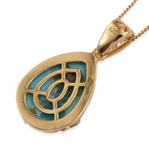 Arizona Matrix Turquoise (Pear) Solitaire Pendant With Chain in 14K Gold Overlay Sterling Silver 6.000 Ct.