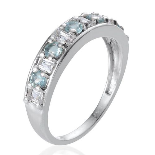 AA Paraibe Apatite (Rnd), White Topaz Half Eternity Ring in Platinum Overlay Sterling Silver 1.500 Ct.
