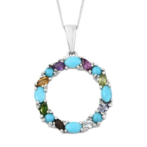 Arizona Sleeping Beauty Turquoise (Ovl), Hebei Peridot, Russian Diopside, Amethyst and Multi Gemstone Circle of Life Pendant with Chain in Platinum Overlay Sterling Silver 2.250 Ct.