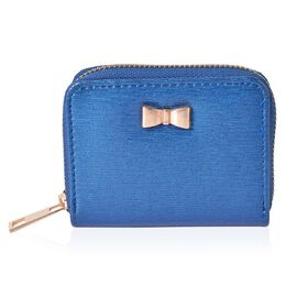 Bowknot Adorned Blue Colour Ladies Wallet (Size 11X8X2 Cm)