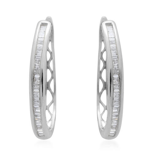 9K White Gold SGL Certified Diamond (Bgt) (I3/G-H) Hoop Earrings (with Clasp) 0.500 Ct.