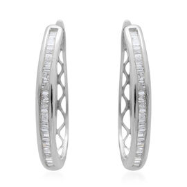 Limited Edition- Designer Inspired- 9K White Gold SGL Certified Diamond (Bgt) (I3/G-H) Hoop Earrings (with Clasp) 0.500 Ct.