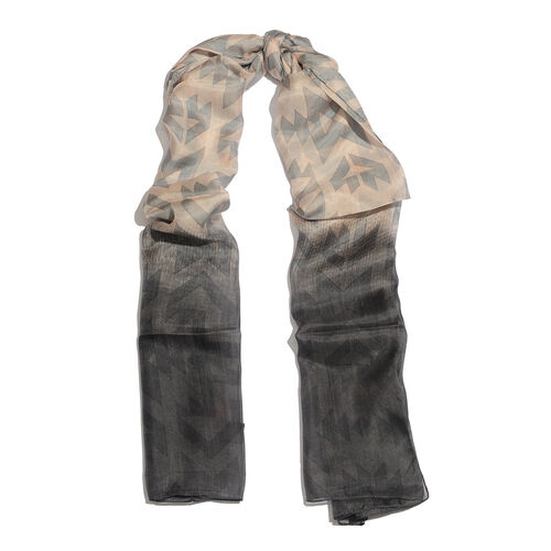 100% Mulberry Silk Dark Grey, Pink and Multi Colour Printed Scarf (Size 180x100 Cm)