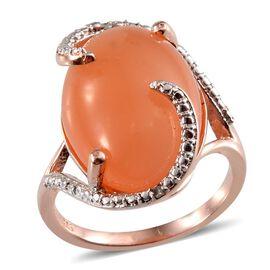 Mitiyagoda Peach Moonstone (Ovl), Diamond Ring in Rose Gold Overlay Sterling Silver 13.510 Ct.