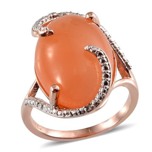 Mitiyagoda Peach Moonstone (Ovl 13.50 Ct), Diamond Ring in Rose Gold Overlay Sterling Silver 13.510 Ct.