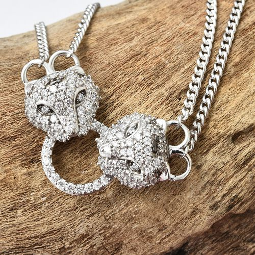J Francis - Platinum Overlay Sterling Silver (Rnd) Leopard Necklace (Size 18 with 2 inch Extender) Made with SWAROVSKI ZIRCONIA, Silver wt 18.00 Gms. Number of Swarovski 117