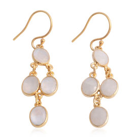 Sri Lankan Silver Moonstone (Ovl) Dangle Hook Earrings in Yellow Gold Overlay Sterling Silver