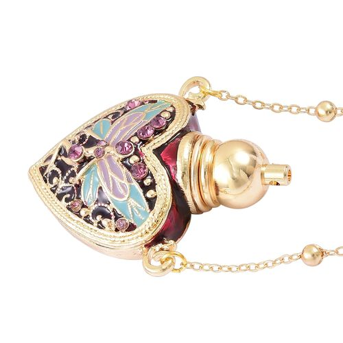 Turkish Style Perfume Bottle Necklace (Size 27) with Simulated Golden Pearl and Purple Austrian Crystal in Yellow Gold Tone