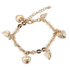 Designer Inspired - Very Limited Available- 9K Yellow Gold Oval Link Bracelet (Size 7 with 1.5 inch Extender) with Diamond Cut Leaf and Heart Charm, Gold wt 8.85 Gms.