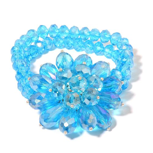 New Arrival - Simulated Neon Apatite Floral Stretchable Bracelet (Size 6.5)