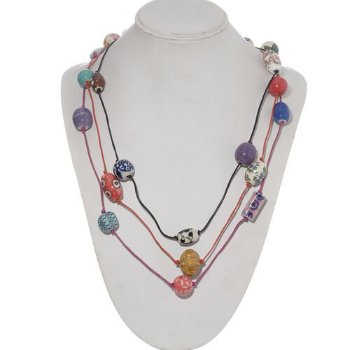 Set of 3 - Jewels of India Multi Colour Fancy Shape Ceramic Beads in Necklace (Size 36)