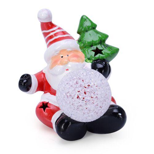Home Decor - Set of 3 - Christmas Santa Made of Ceramic with LED
