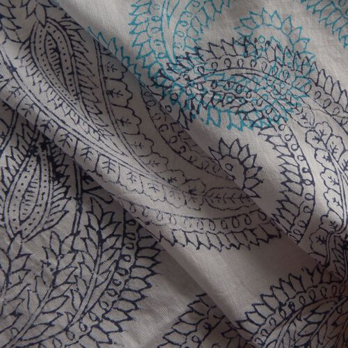 New Season-100% Cotton Blue, Grey and White Colour Hand Block Paisley Printed Kaftan with Tassels (Free Size)