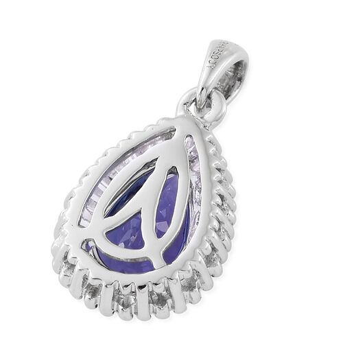 RHAPSODY 950 Platinum 1.48 Ct AAAA Tanzanite Pear Halo Pendant with Diamond VS E-F