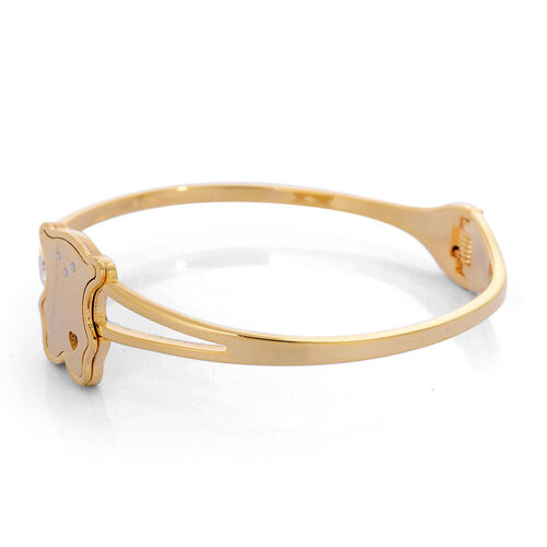 White Austrian Crystal Bangle in ION Plated YG Stainless Steel (Size 7.5)
