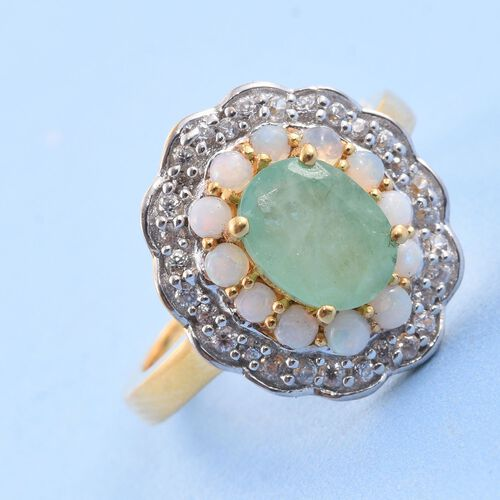 Kagem Zambian Emerald (Ovl 1.05 Ct), Natural Australian Opal and Natural Cambodian Zircon Ring in 14K Gold Overlay Sterling Silver 1.750 Ct.
