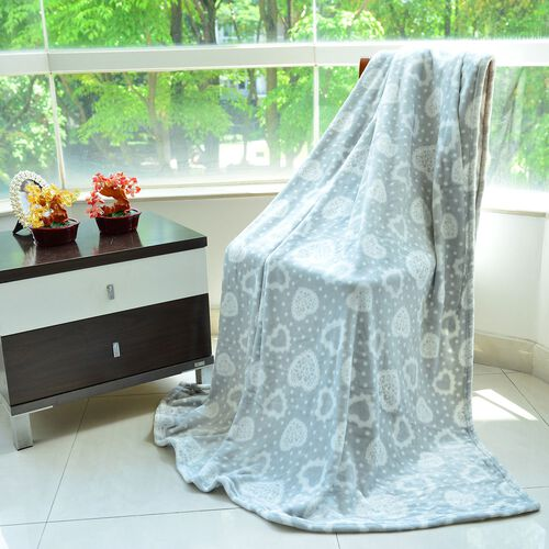 Superfine Microfibre Flannel Blanket Grey Colour with Hearts Design 150x200 cm