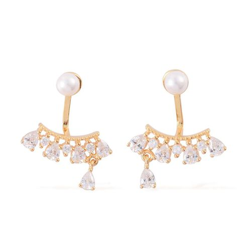 ELANZA AAA Simulated White Diamond and White Shell Pearl Jacket Earrings (with Push Back) in Yellow Gold Overlay Sterling Silver