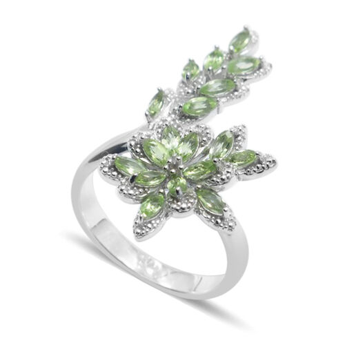 Hebei Peridot (Mrq) Crossover Ring in Rhodium Plated Sterling Silver 1.750 Ct.