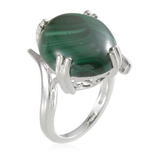 Malachite (Ovl) Solitaire Ring in Sterling Silver 20.000 Ct.