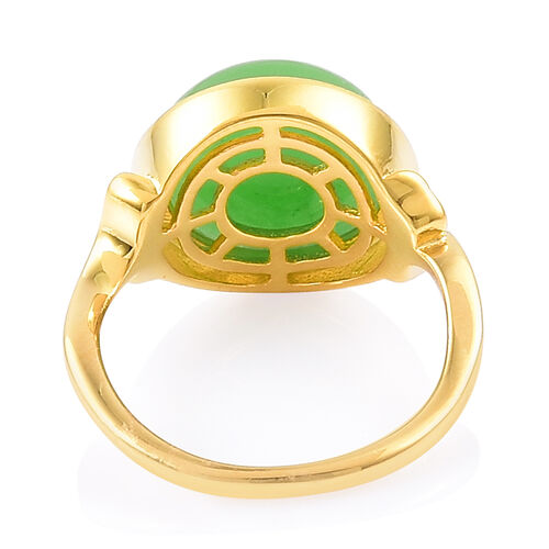 Green Jade (Rnd) Solitaire Ring in Yellow Gold Overlay Sterling Silver 7.250 Ct.