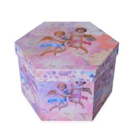 Set of 14 - Pink, Blue and Multi Colour Angel Pattern Christmas Decoration Baubles in a Box (Size 21.5X15 Cm)