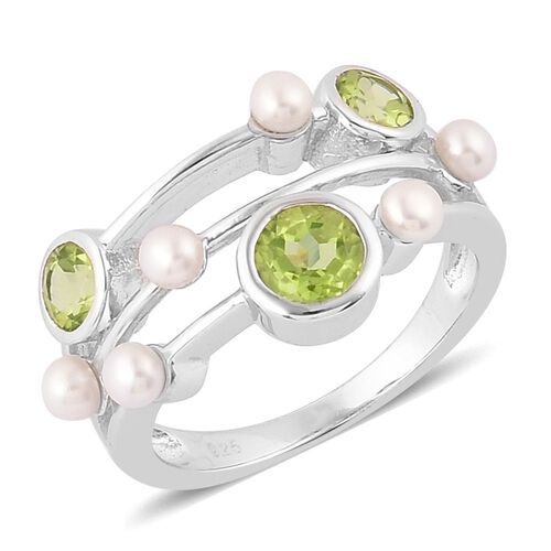 Hebei Peridot (Rnd 0.57 Ct), Fresh Water Pearl Ring in Platinum Overlay Sterling Silver 1.980 Ct.