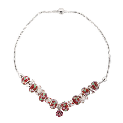 Red Glass Necklace (Size 18) in Silver Tone