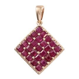 Signature Collection- 9K Y Gold AAA Princess Cut Burmese Ruby Pendant 3.000 Ct.