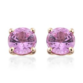 9K Yellow Gold AA Pink Sapphire (Rnd) Stud Earrings (with Push Back) 1.000 Ct.