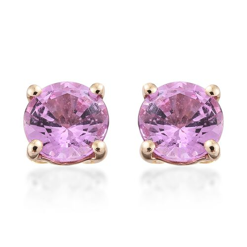9K Yellow Gold 1 Carat AA Pink Sapphire (Rnd) Stud Earrings (with Push Back)