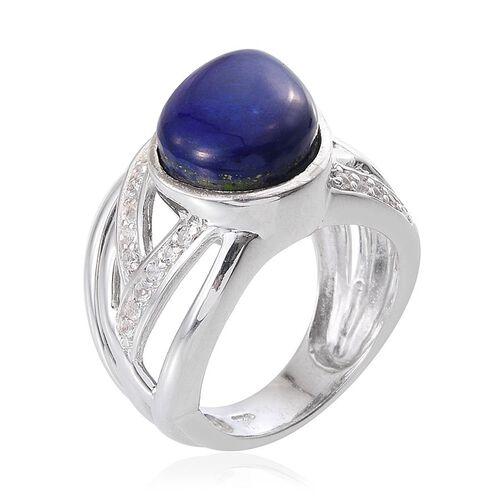Lapis Lazuli (Pear 10.00 Ct), White Topaz Ring in Platinum Overlay Sterling Silver 10.500 Ct.