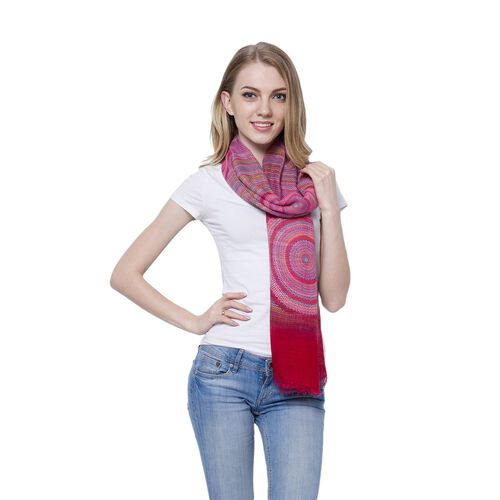 Red, Yellow and Multi Colour Helicoid Pattern Pink Colour Scarf (Size 170x85 Cm)