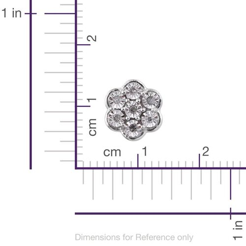Diamond (Rnd) Floral Stud Earrings in Platinum Overlay Sterling Silver
