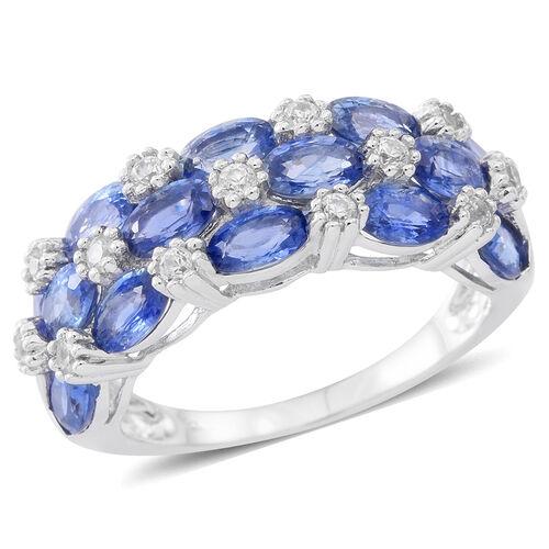 9K W Gold AAA Ceylon Blue Sapphire (Ovl), White Zircon Ring 4.000 Ct.