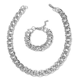 Stainless Steel Double Link Curb Necklace (Size 20) and Bracelet (Size 8 with 1 inch Extender)