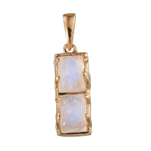 Natural Rainbow Moonstone (Bgt) Pendant in 14K Gold Overlay Sterling Silver 2.250 Ct.