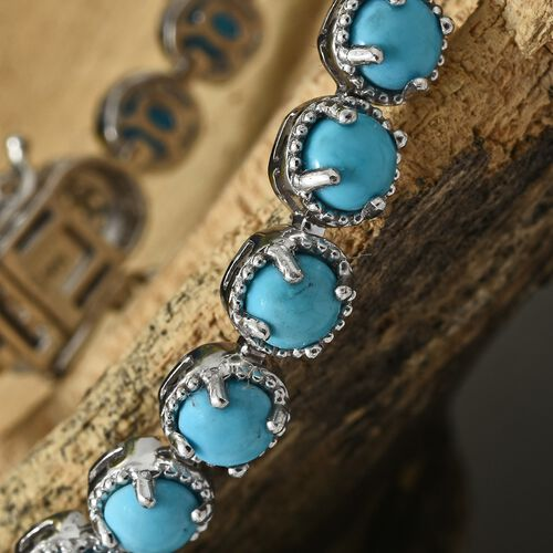 AAA Arizona Sleeping Beauty Turquoise (Rnd), Natural Cambodian Zircon Bracelet (Size 7.5) in Platinum Overlay Sterling Silver 10.500 Ct, Silver wt 14.70 Gms.