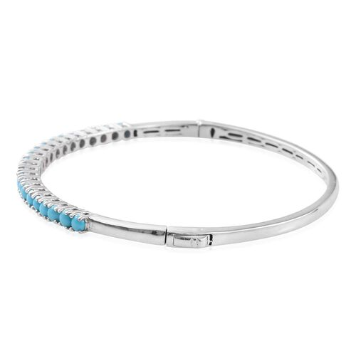 AA Arizona Sleeping Beauty Turquoise (Rnd) Bangle (Size 7.5) in Platinum Overlay Sterling Silver 2.500 Ct.