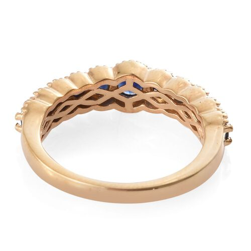 Kanchanaburi Blue Sapphire (Rnd) Ring in 14K Gold Overlay Sterling Silver 1.160 Ct.
