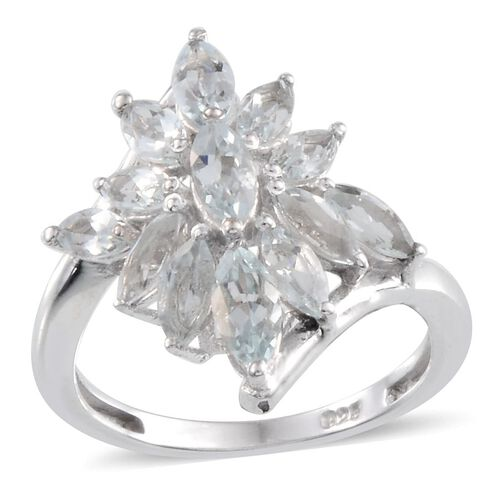 Espirito Santo Aquamarine (Mrq) Ring in Platinum Overlay Sterling Silver 2.250 Ct.