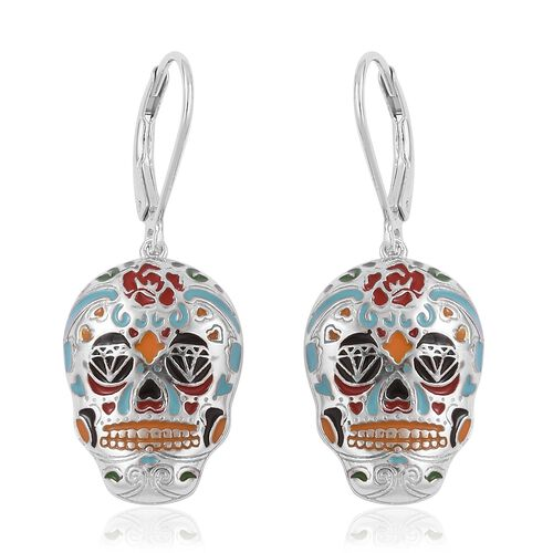 TJC Launch- Designer Inspired Multi Colour Enameled Skull Lever Back Earrings in Rhodium Plated Sterling Silver