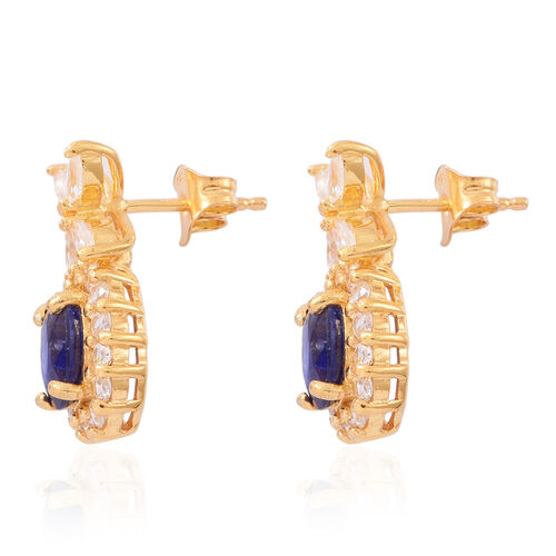 Preview Auction-Masoala Sapphire (Ovl), Natural White Cambodian Zircon Earrings (with Push Back) in 14K Gold Overlay Sterling Silver 6.000 Ct.