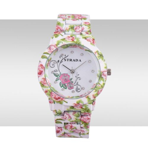 STRADA Japanese Movement White Austrian Crystal Studded Floral Dial Water Resistant Watch in Silver Tone with Stainless Steel Back and Floral Pattern White Colour Strap