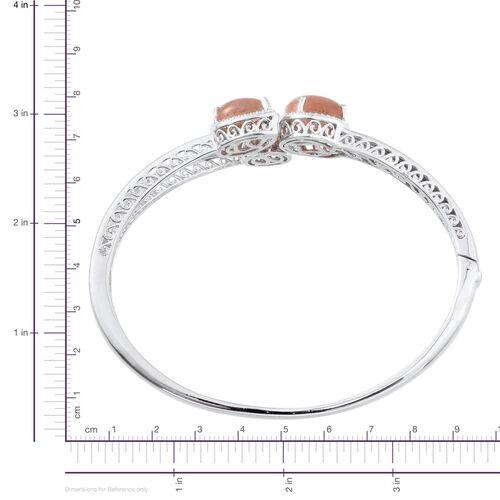 Morogoro Peach Sunstone (Ovl 4.75 Ct), Diamond Bangle (Size 7.5) in Platinum Overlay Sterling Silver 10.020 Ct.