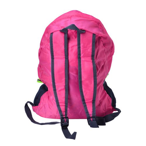Set of 2 - Pink Colour Foldable Backpack and Storage Bag (Size 44x30x13 Cm, 26.5x16x9.5 Cm)