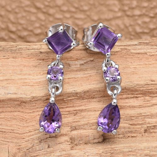Amethyst (Sqr), Lusaka Amethyst Earrings (with Push Back) in Platinum Overlay Sterling Silver 1.750 Ct.